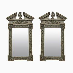 Antike Spiegel mit Rahmen mit Schnitzereien & Farbanstrich, 2er Set