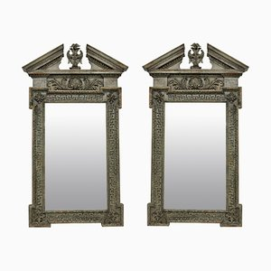 Antique English Carved & Painted Mirrors, Set of 2
