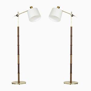 Stehlampen aus Mahagoni von Falkenbergs Belysning, 1950er, 2er Set