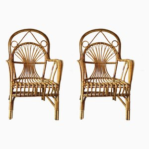 Armlehnstuhl aus Bambus, 1960er, 2er Set