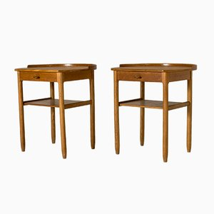 Oak Side Tables by Sven Engström & Gunnar Myrstrand for Bodafors, 1960s, Set of 2
