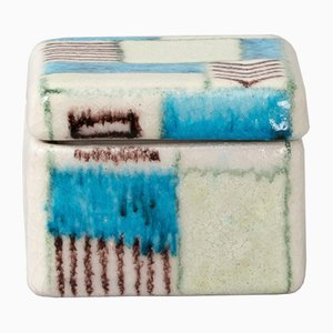 Hand-Painted Ceramic Box by Guido Gambone, 1950s