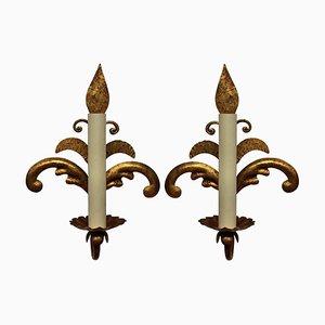Apliques franceses de metal dorado, años 60. Juego de 2