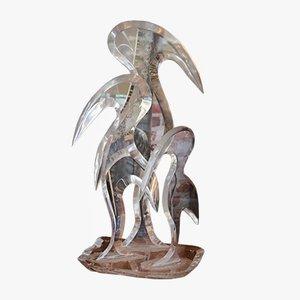 Scultura di uccello in plexiglas di Hivo Van Teal, anni '80
