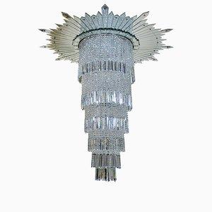 Kronleuchter mit geschliffenem Glasbehang, 1930er