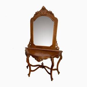 Antiker Konsolentisch mit Spiegel