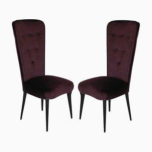 Italienische Beistellstühle mit violettem Samtbezug, 1950er, 2er Set