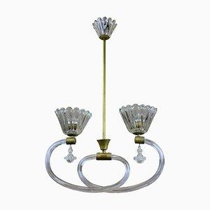 Lampada da soffitto in ottone e vetro soffiato di Barovier & Toso, Italia, anni '50