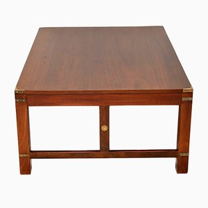 Large Antique Mahogany and Brass Military Campaign Coffee Table