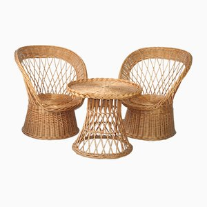Rattan Chairs and Table, 1970s, Set of 3