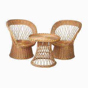 Tavolo in vimini e sedie, anni '70, set di 3