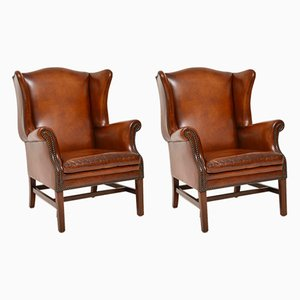 Swedish Leather Wing Back Armchairs, 1920s, Set of 2
