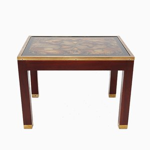 Mahogany and Glass Map Side Table, 1968