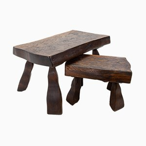Brutalist Oak Side Tables, 1978, Set of 2