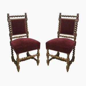 Antike Esszimmerstühle aus Eiche, 2er Set