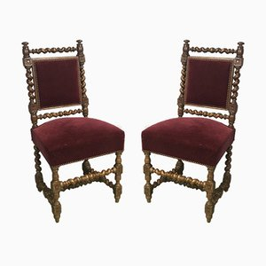 Antique Oak Dining Chairs, Set of 2