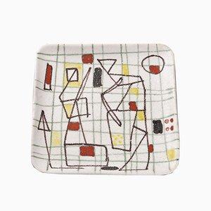 Plato Freeform de cerámica pintada a mano de Guido Gambone, años 50