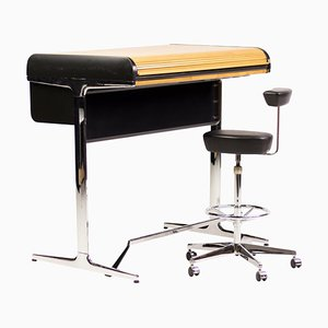 Roll-Top Desk and Chair by George Nelson & Associates for Herman Miller, 1970s, Set of 2