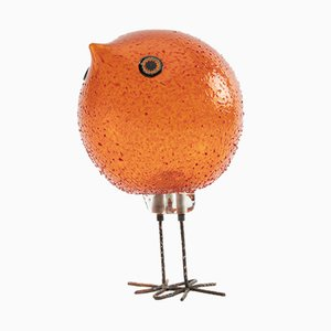 Murano Glass Orange Bird Sculpture by Alessandro Pianon for Vistosi, 1963