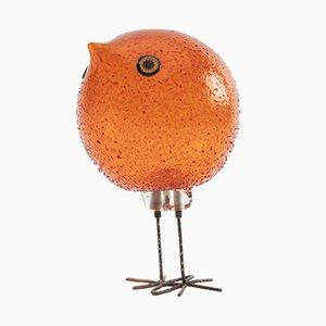 Scultura a forma di uccello in vetro di Murano arancione di Alessandro Pianon per Vistosi, 1963