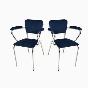 Mid-Century Blue Velvet and Chromed Metal Armchair