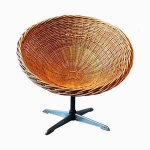 Rattan, Iron & Steel Swivel Chair, 1960s