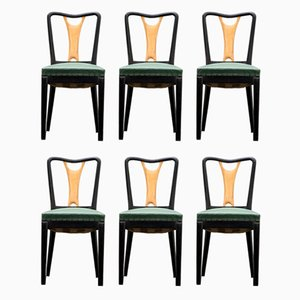 Art Deco Black Lacquer Dining Chairs, 1940s, Set of 6