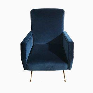 Mid-Century Sessel aus blauem Samt mit Messingfüßen