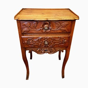 Table de Chevet Florale Antique en Merisier