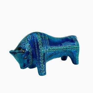 Taureau Rimini en Céramique Bleue par Aldo Londi pour Bitossi, 1960s