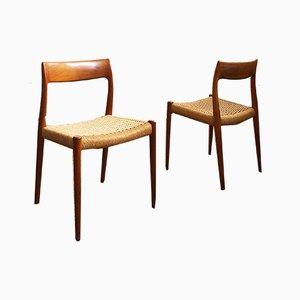 Dänische Modell 77 Beistellstühle aus Teak von Niels Otto Møller für J.L. Møllers, 1950er, 2er Set