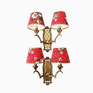 Französische Wandlampen aus Messing, 1950er, 2er Set