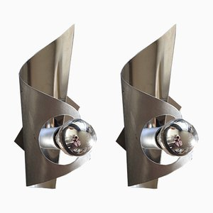 Brushed Stainless Steel & Polished Sconces, 1970s, Set of 2