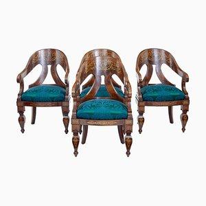 Antike Regency Armlehnstühle aus Mahagoni, 4er Set