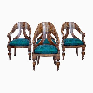 Antique Regency Mahogany Armchairs, Set of 4