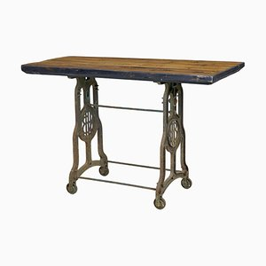 Antique Industrial Cast Iron & Pine Worktable