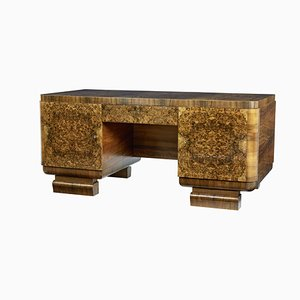 Scandinavian Art Deco Burr Walnut Desk, 1930s