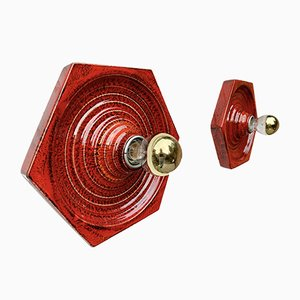 Mid-Century Red Sconces by Hustadt Leuchten, Set of 2