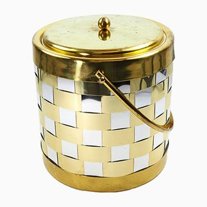Brass, Chrome & Woven Ice Bucket, 1960s