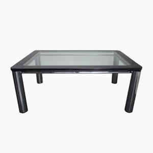 Tavolo da pranzo in legno laccato nero, acciaio e vetro, anni '70
