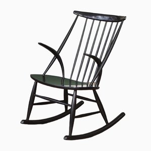 Mid-Century Black Rocking Chair by Illum Wikkelso