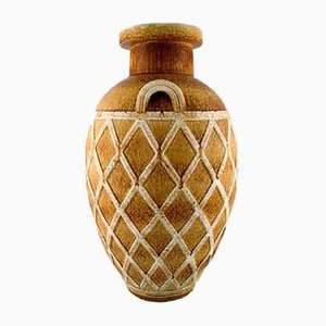 Geometric Pattern Floor Vase by Gunnar Nylund for Rörstrand, 1940s