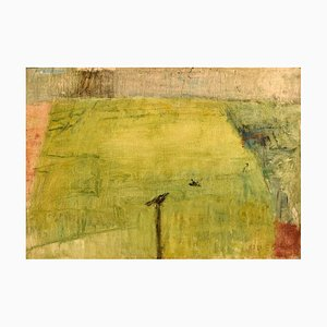 Modernist Landscape Oil on Canvas by Lili Ege, 1970s