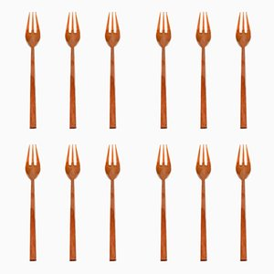 Mid-Century Scanline Brass Pastry Forks by Sigvard Bernadotte, Set of 12