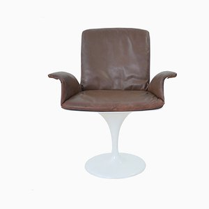 Mid-Century Tulip Leather Swivel Chair