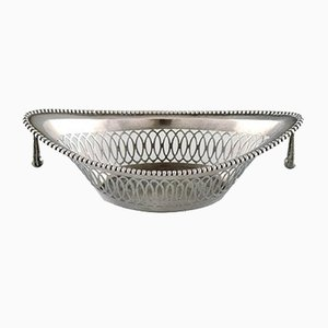 Antique Silver Decorated Bowl with Handles