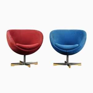 Suede Club Chairs by Sven Ivar Dysthe for Varier Stokke, 1970s, Set of 2