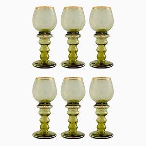 Copas de vino bohemias grabadas, años 40. Juego de 6