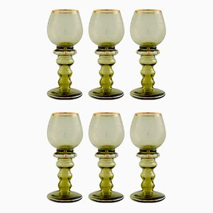 Engraved Bohemian Wine Glasses, 1940s, Set of 6