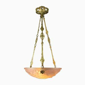 French Art Deco Pastel Pink Frosted Glass Chandelier from Verrerie D'Art Degué, 1920s